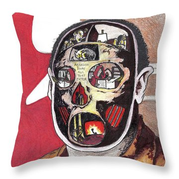 Abandon Hope All That Enter Throw Pillow by Kevin Sweeney