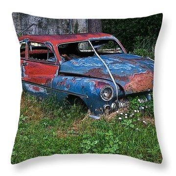 Abandoned 1950 Mercury Monteray Buick Throw Pillow