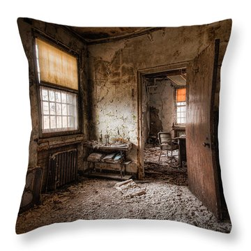 Throw Pillow featuring the photograph Abandoned Asylum - Haunting Images - What Once Was by Gary Heller