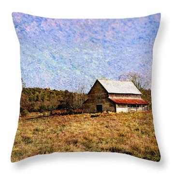 Throw Pillow featuring the photograph Abandoned Barn In North Georgia by Vizual Studio