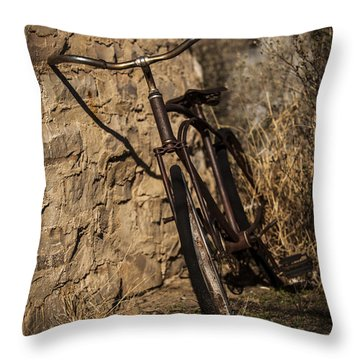 Abandoned Bicycle Throw Pillow by Amber Kresge
