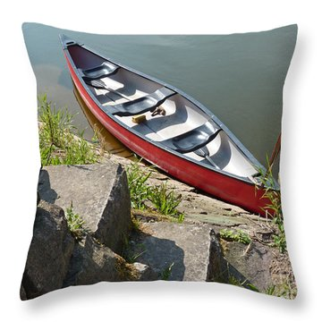 Abandoned Boat At The Quay Throw Pillow