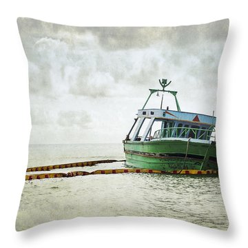 Abandoned Boat Of Immigrants Throw Pillow by Alfio Finocchiaro