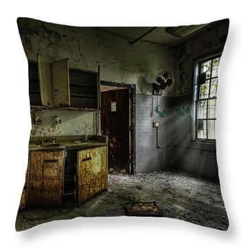Abandoned Building - Old Asylum - Open Cabinet Doors Throw Pillow by Gary Heller