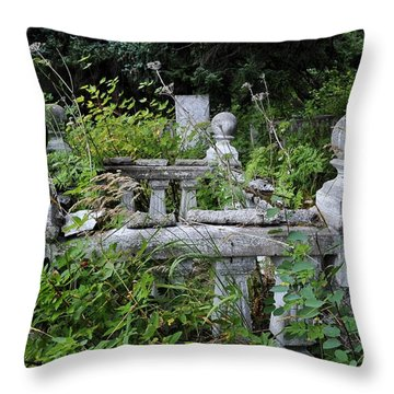 Throw Pillow featuring the photograph Abandoned Cemetery 2 by Cathy Mahnke