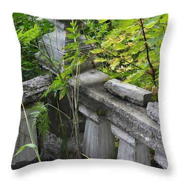 Throw Pillow featuring the photograph Abandoned Cemetery by Cathy Mahnke