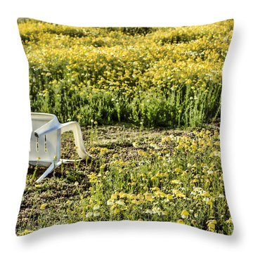 Throw Pillow featuring the digital art Abandoned Chair by Photographic Art by Russel Ray Photos