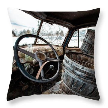 Throw Pillow featuring the photograph Abandoned Chevrolet Truck - Inside Out by Gary Heller