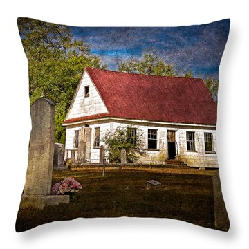 Abandoned Church And Graves Throw Pillow