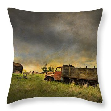 Abandoned Farm Truck Throw Pillow by Theresa Tahara