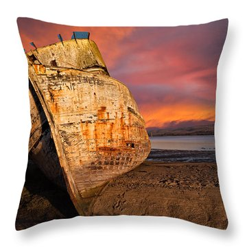 Abandoned Fishing Boat At Inverness Throw Pillow