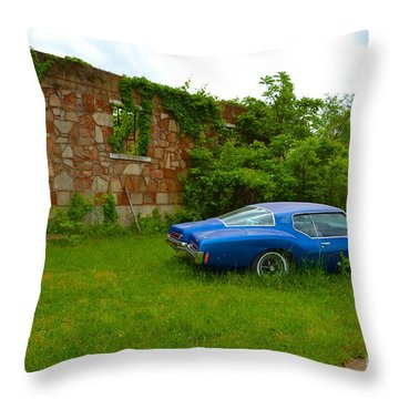Throw Pillow featuring the photograph Abandoned Gym And Car by Utopia Concepts