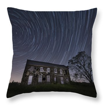 Abandoned History Star Trails Throw Pillow by Michael Ver Sprill