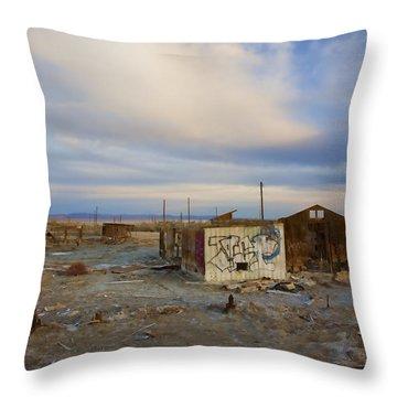 Abandoned Home Salton Sea Throw Pillow by Hugh Smith