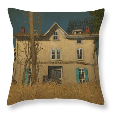 Throw Pillow featuring the drawing Abandoned by Meg Shearer