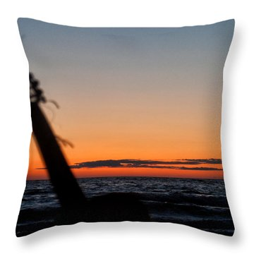 Acoustic Guitar On The Beach Throw Pillow