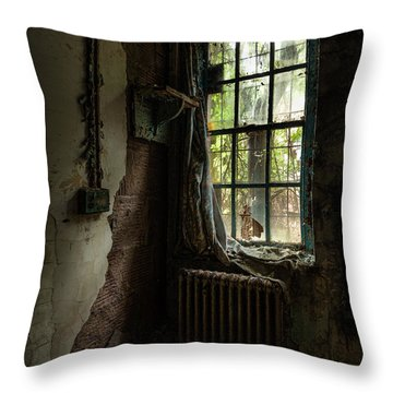 Abandoned - Old Room - Draped Throw Pillow by Gary Heller