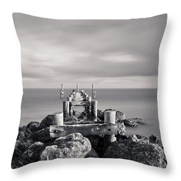 Abandoned Pier Throw Pillow by Adam Romanowicz