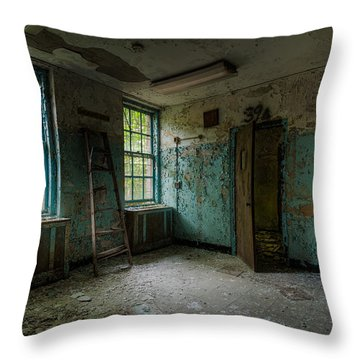 Throw Pillow featuring the photograph Abandoned Places - Asylum - Old Windows - Waiting Room by Gary Heller
