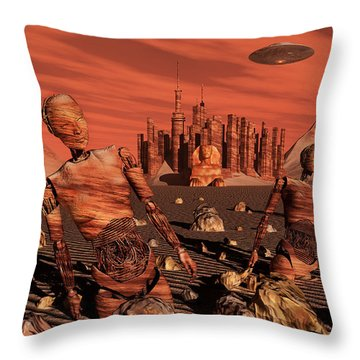 Abandoned Relics From An Advanced Throw Pillow by Stocktrek Images