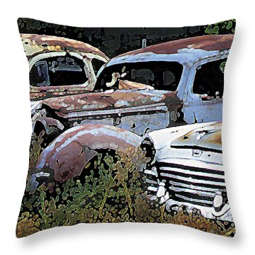 Abandoned Row Throw Pillow