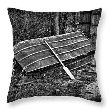 Abandoned Rowboat Throw Pillow by Tara Potts