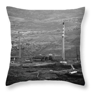 Abandoned Smokestacks Throw Pillow