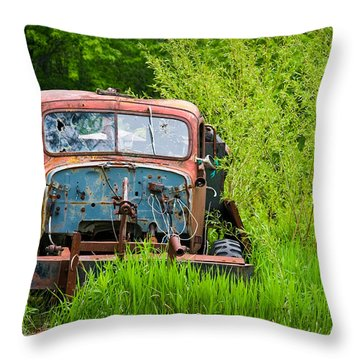 Abandoned Truck In Rural Michigan Throw Pillow by Adam Romanowicz