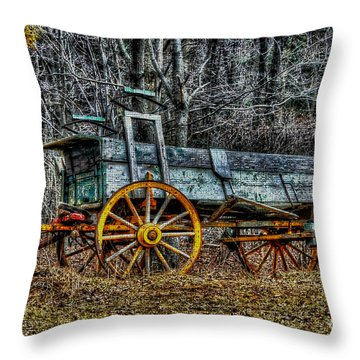 Abandoned Wagon Edge Of Field Throw Pillow by Dan Friend