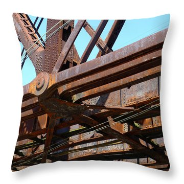 Abandoned - Whitford Railroad Bridge Throw Pillow by Richard Reeve