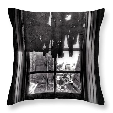 Abandoned Window Throw Pillow by H James Hoff