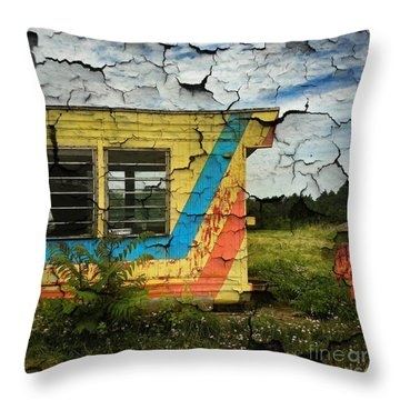 Abandoned Yellow Trailer Throw Pillow by Amy Cicconi
