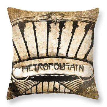 Abbesses Metropolitain Throw Pillow