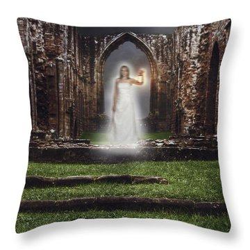 Abbey Ghost Throw Pillow by Amanda Elwell
