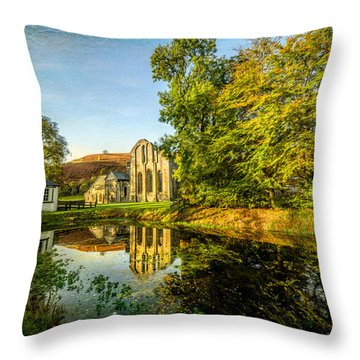 Abbey Lake Autumn Throw Pillow by Adrian Evans