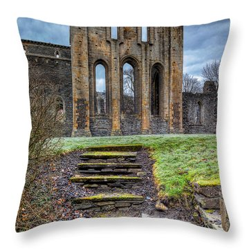 Abbey Steps Throw Pillow by Adrian Evans