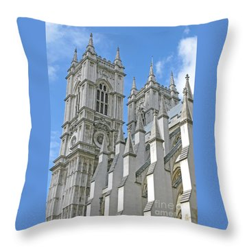 Throw Pillow featuring the photograph Abbey Towers by Ann Horn