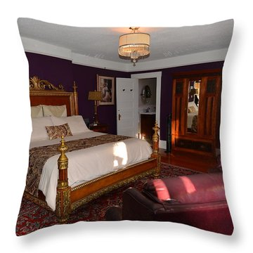 Abbeymoore Manor - Victoria Bc The Master Bedroom Throw Pillow by Lawrence Christopher
