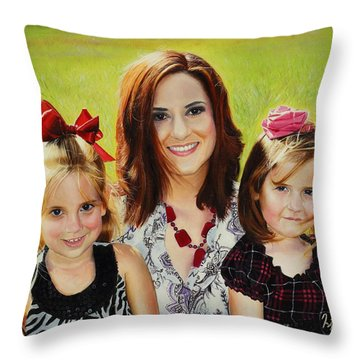 Abby And The Girls Throw Pillow