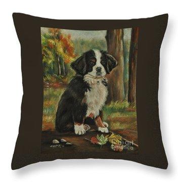 Abby - Bernese Mountain Dog Throw Pillow by Heather Kertzer