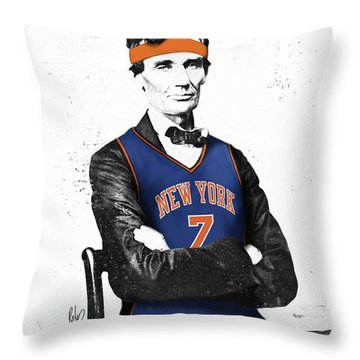 Abe Lincoln In A Carmelo Anthony New York Knicks Jersey Throw Pillow by Roly Orihuela