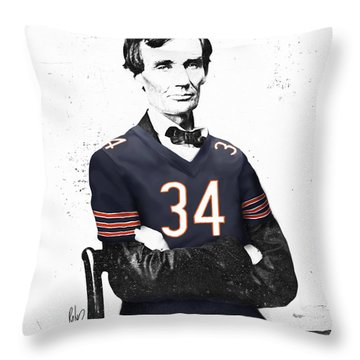 Abe Lincoln In A Walter Payton Chicago Bears Jersey Throw Pillow by Roly Orihuela