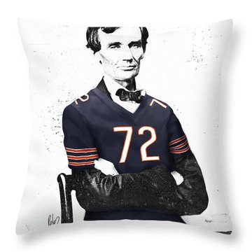 Abe Lincoln In A William Perry Chicago Bears Jersey Throw Pillow by Roly Orihuela