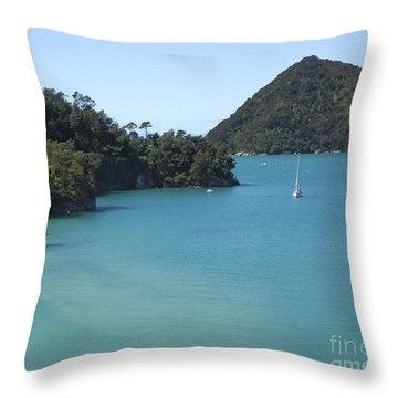 Abel Tasman Bay With Sail Boat Throw Pillow