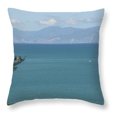 Abel Tasman Split Apple Bay New Zealand Throw Pillow by Loriannah Hespe
