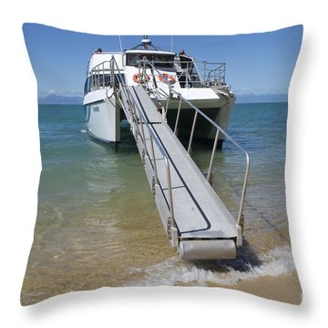 Abel Tasman Water Taxi Throw Pillow by Loriannah Hespe