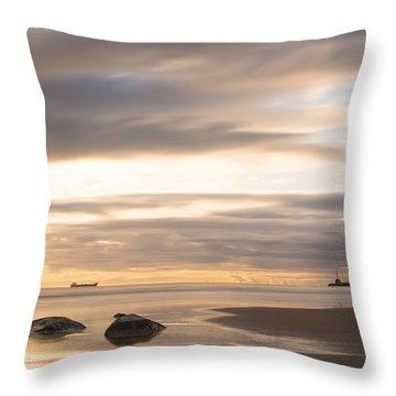 Aberdeen Beach At Dawn Throw Pillow