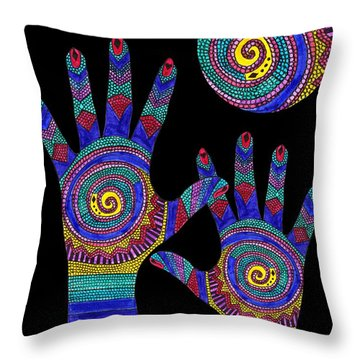 Aboriginal Hands To The Sun Throw Pillow by Barbara St Jean