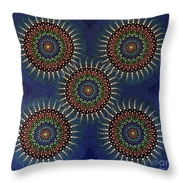 Throw Pillow featuring the painting Aboriginal Inspirations 16 by Mariusz Czajkowski