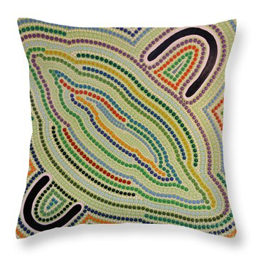 Throw Pillow featuring the painting Aboriginal Inspirations 17 by Mariusz Czajkowski